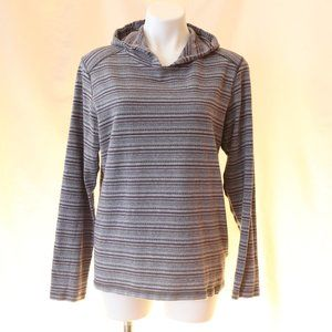 Prana Blue & Grey striped Hoodie